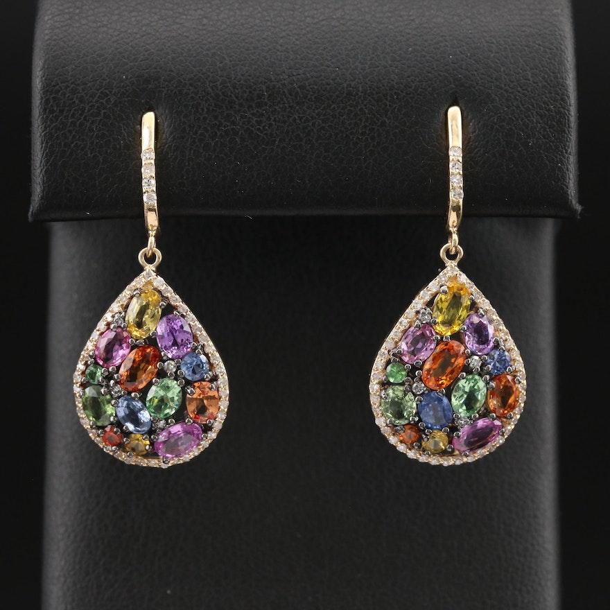 EFFY 14K Garnet, Diamond and Gemstone Cluster Earrings