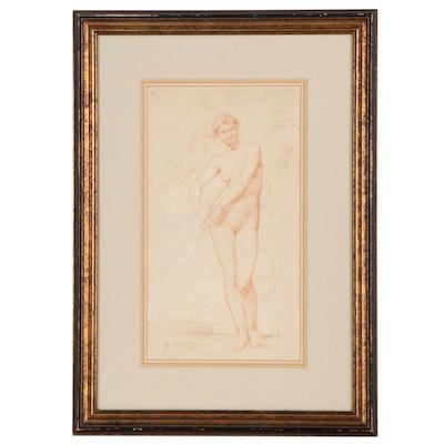 Jules-Elie Delaunay Sanguine Conté Crayon and Graphite Drawing of Aphrodite