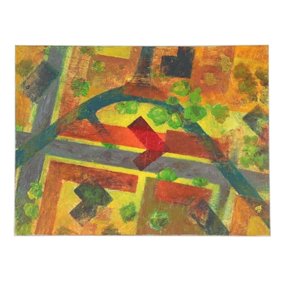 Tor Oxe Abstract Geometric Oil Painting, 2011
