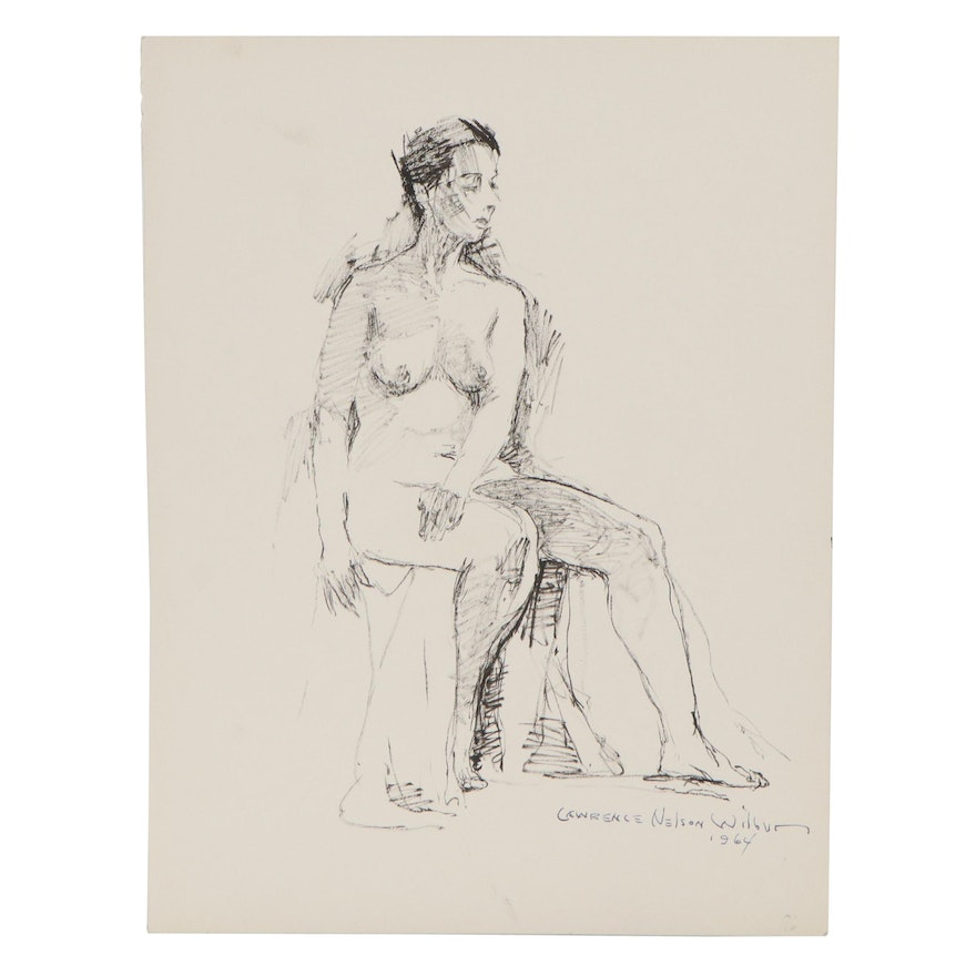 """Lawrence Nelson Wilbur Ink Drawing """"Seated Nude,"""" 1964"""