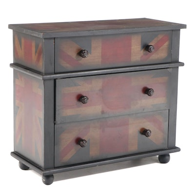 Contemporary Union Jack-Decorated Three-Drawer Chest