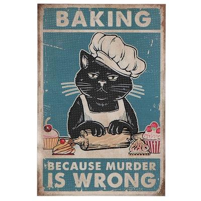 Giclée of Black Cat Baking, 21st Century