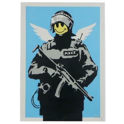 "Giclée after Banksy ""Smiley Police Trooper"""