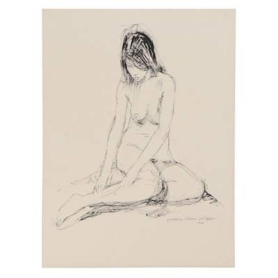 "Lawrence Nelson Wilbur Ink Drawing ""Seated Nude on Floor,"" 1966"