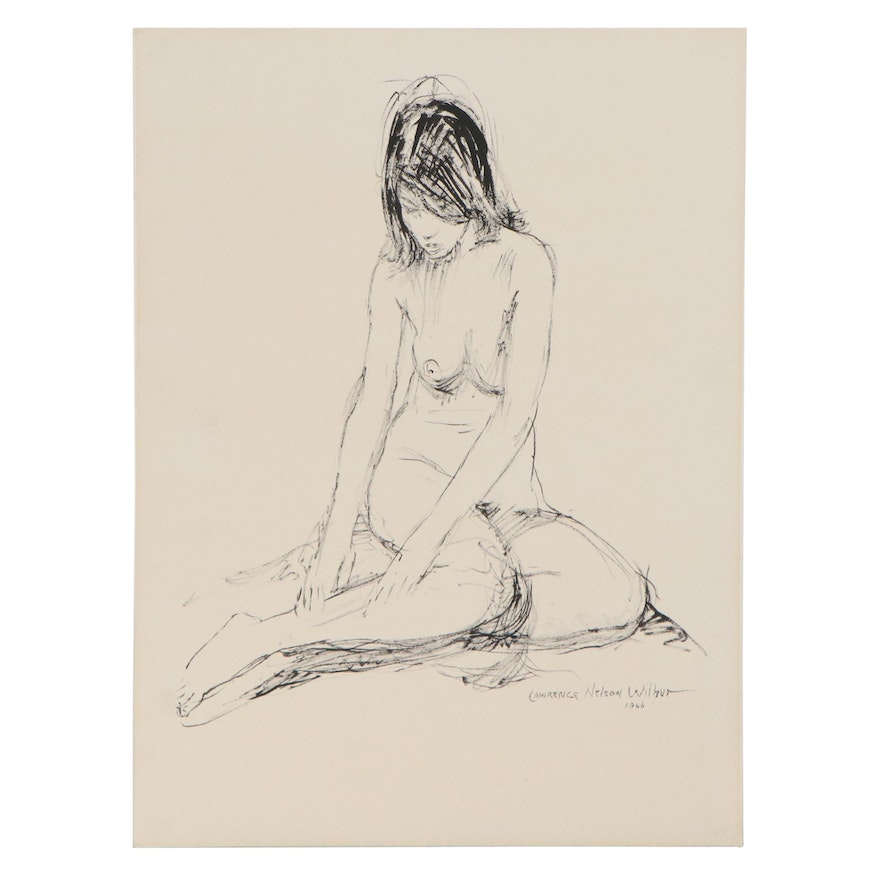"""Lawrence Nelson Wilbur Ink Drawing """"Seated Nude on Floor,"""" 1966"""