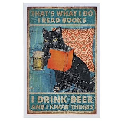 Giclée of Black Cat Reading and Drinking Beer, 21st Century
