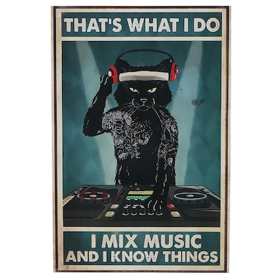 Giclée of Black Cat Mixing Beats, 21st Century