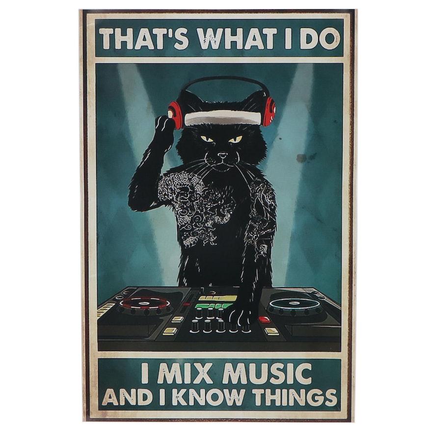 Giclée of Black Cat Mixing Beats, 21st Century