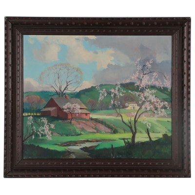Orrin A. White Spring Farm Landscape Oil Painting