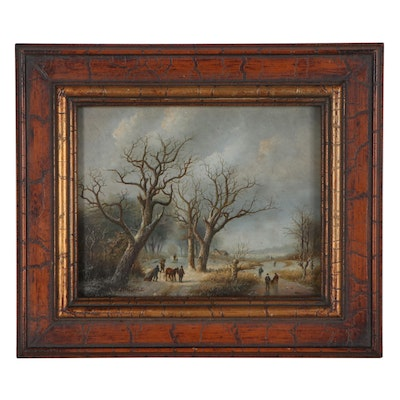 Winter Landscape Oil Painting after Klombeck and Verboeckhoven