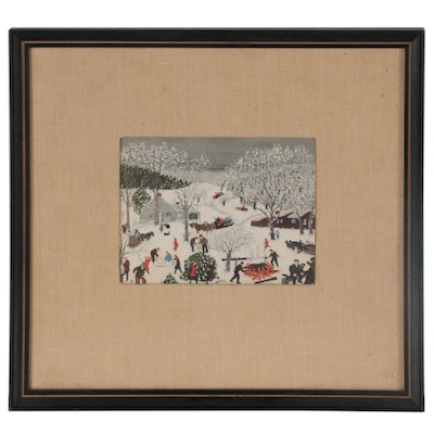 "Offset Lithograph after Grandma Moses ""Sugaring Off"""