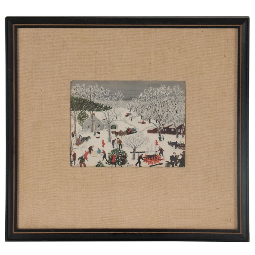 """Offset Lithograph after Grandma Moses """"Sugaring Off"""""""