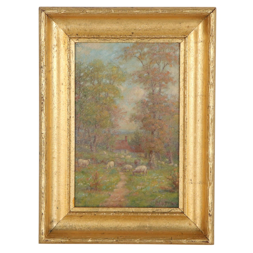 C. A. Watson Pastoral Landscape Oil Painting, Early 20th Century
