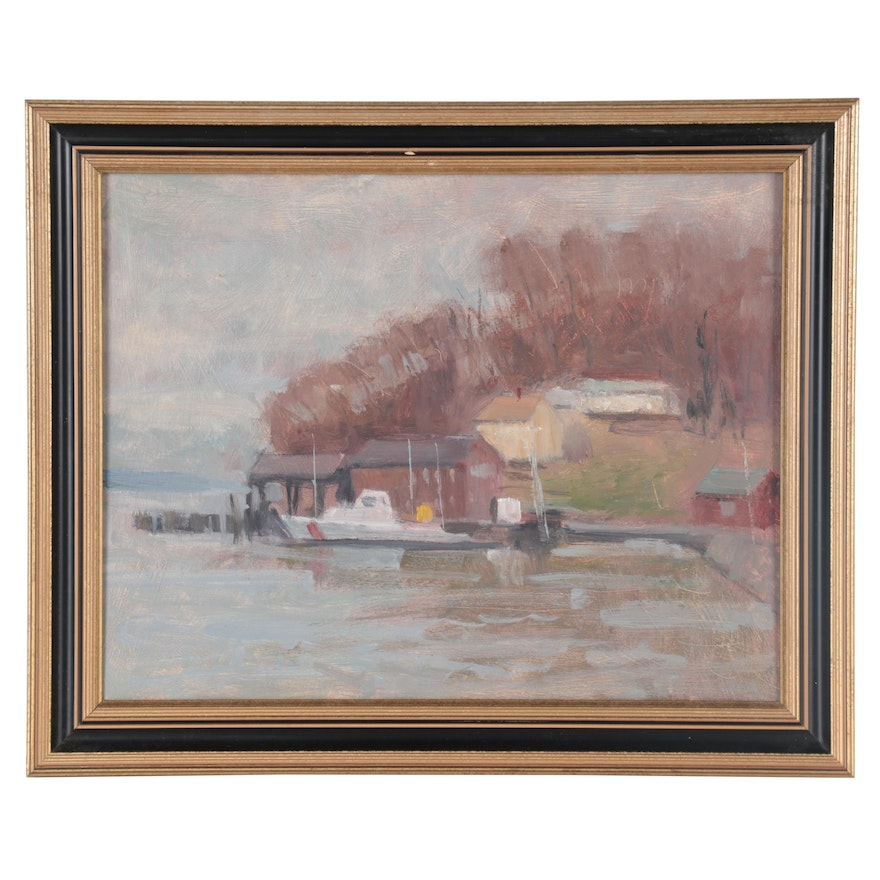 """Harry Barton Dock Landscape Oil Painting """"Quiet Cove,"""" Mid to Late 20th Century"""