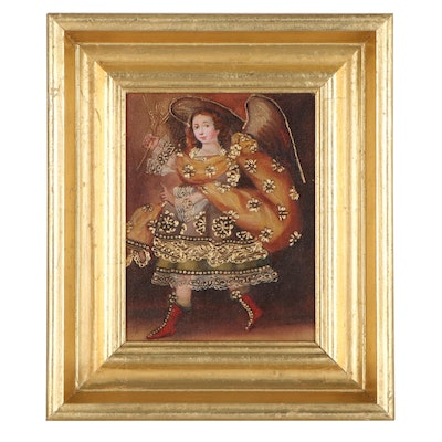 Cuzco School Style Oil Painting of Angel Carrying Wheat
