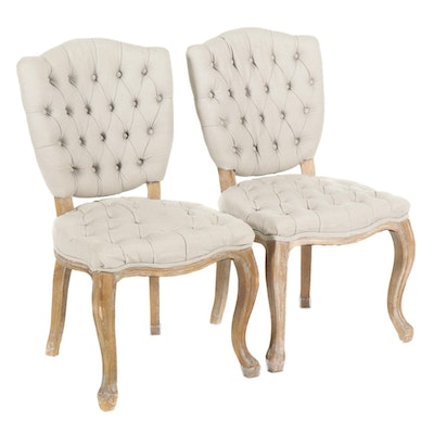 Pair of Arhaus Louis XV Style Button-Tufted Side Chairs