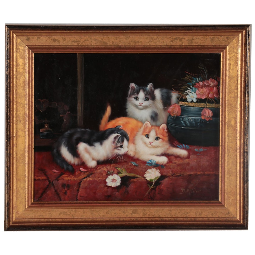 Oil Painting of Kittens and Flowers, 21st Century