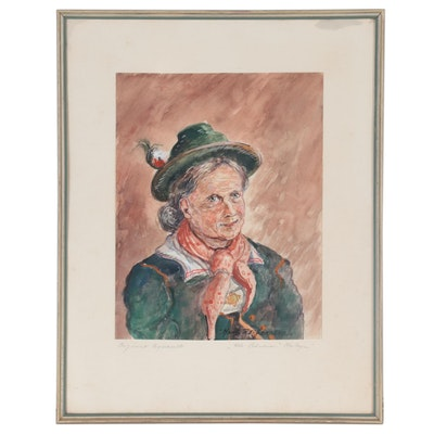 "Hans Reifferscheid Watercolor Painting ""Alter Bayerin,"" Mid-20th Century"