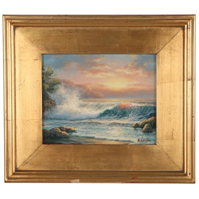 Thomas Wharton Seascape Oil Painting, circa 2000