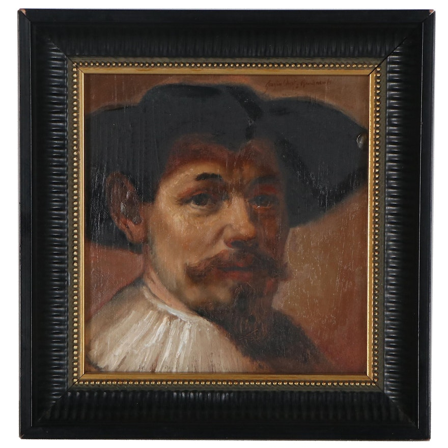Oil Painting after Rembrandt's Portrait of Herman Doomer