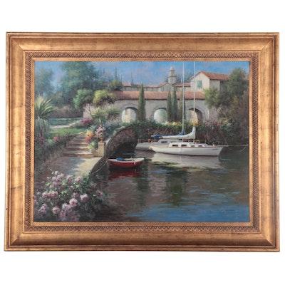 Harbor Scene Oil Painting, circa 2000