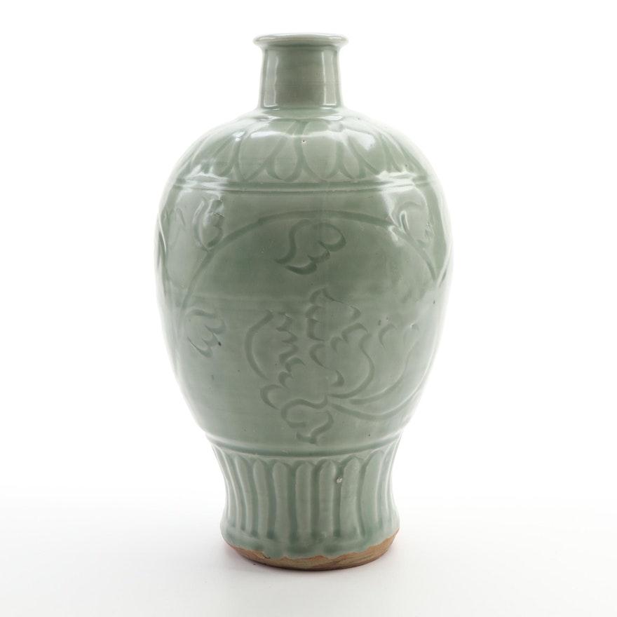 Chinese Terracotta Celadon Glazed Vase