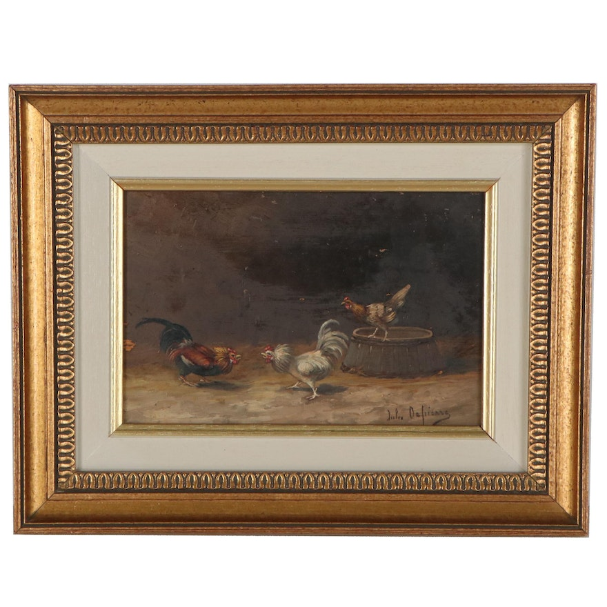 Oil Painting of Roosters, circa 1900
