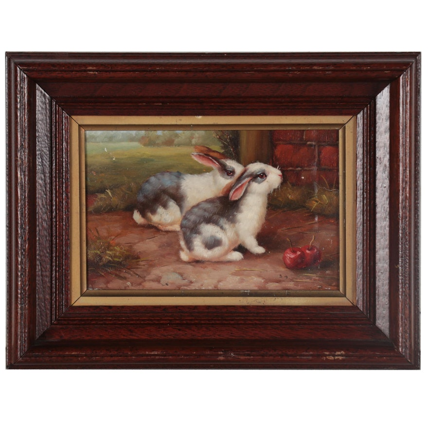 Oil Painting of Two Bunnies