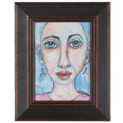 "Deborah McEvoy Acrylic Painting ""She Wore Pink"""