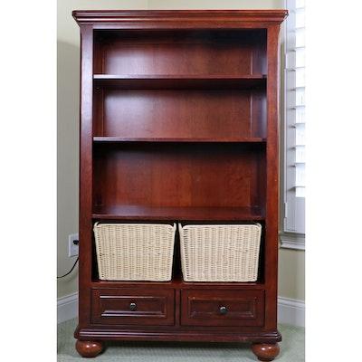 Modular Mahogany Stained Bookshelf Cabinet