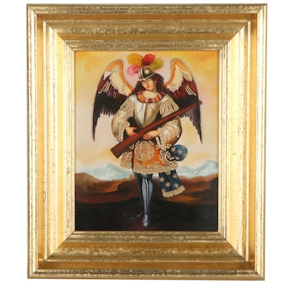 Cuzco School Style Oil Painting of Angel Carrying Arquebus, 21st Century