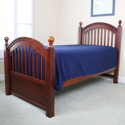Cherry-Stained Wood Adjustable Twin Size Bed