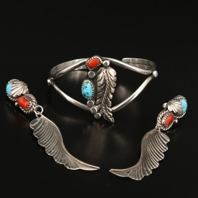 Southwestern Sterling Turquoise and Coral Feather Earrings and Bracelet