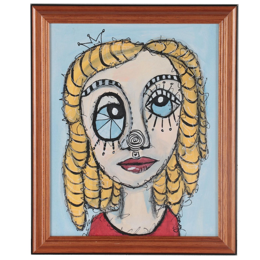 """Deborah McEvoy Acrylic Painting """"She Was a Little Quirky"""""""