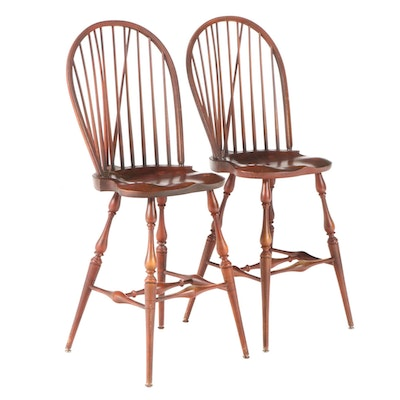 Pair of River Bend Ltd. Brace-Back Windsor Counter-Height Bar Stools
