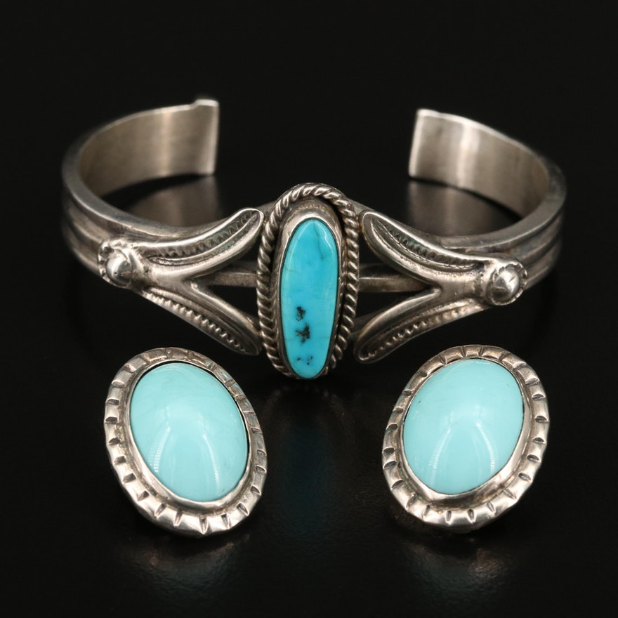 Southwestern Sterling Turquoise and Faux Turquoise Cuff and Clip-On Earrings