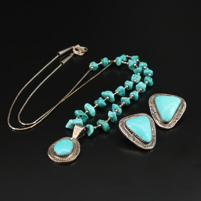 Southwestern Style Sterling Necklace and Earrings with Signed Turquoise Pendant
