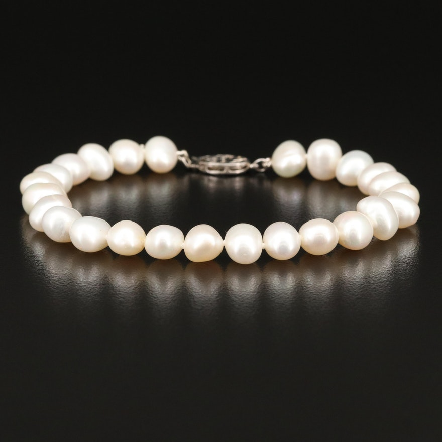 Pearl Bracelet and Sterling Clasp with Good Fortune Character