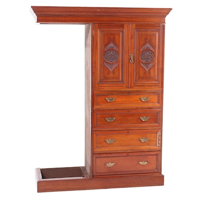 Partial Eastlake Walnut Wardrobe Chest of Drawers, Late 19th Century
