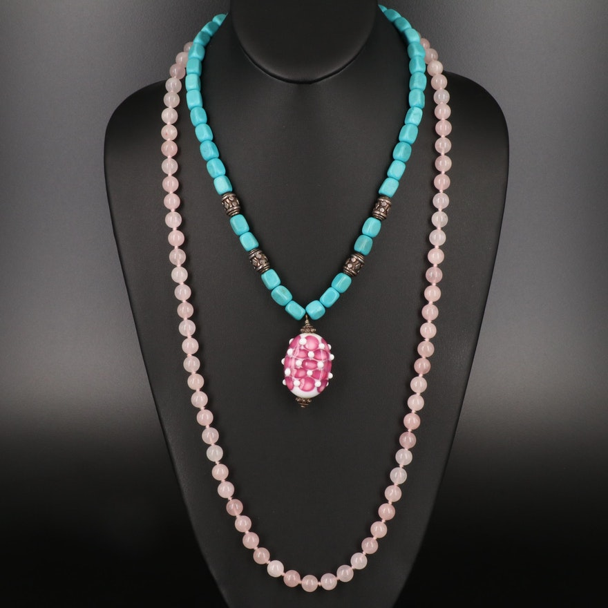 Magnesite and Lampwork Glass Beaded Necklace with Rose Quartz Necklace