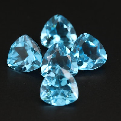 Loose 19.70 CTW Trillion Faceted Swiss Topaz