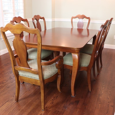 "Thomasville ""Martinique"" Seven-Piece Cherry-Veneered Dining Set"