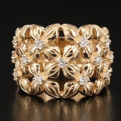 EFFY 14K Diamond Openwork Band with Floral Design