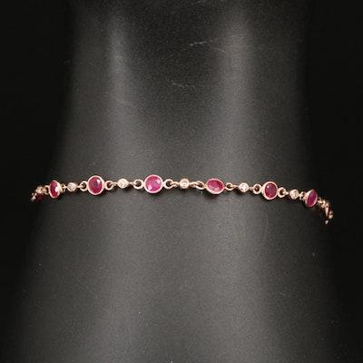 EFFY 14K Rose Gold Ruby and Diamond Station Bracelet