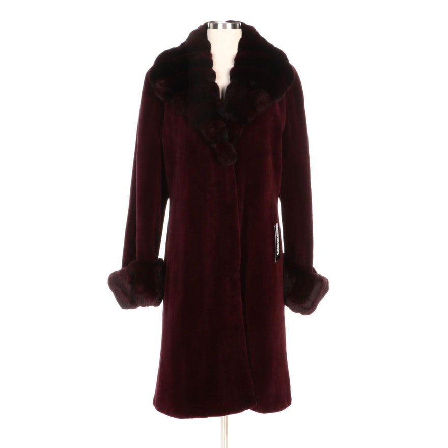 Dyed Chinchilla Fur Trimmed Sheared Mink Fur Coat in Burgundy with Merchant Tag