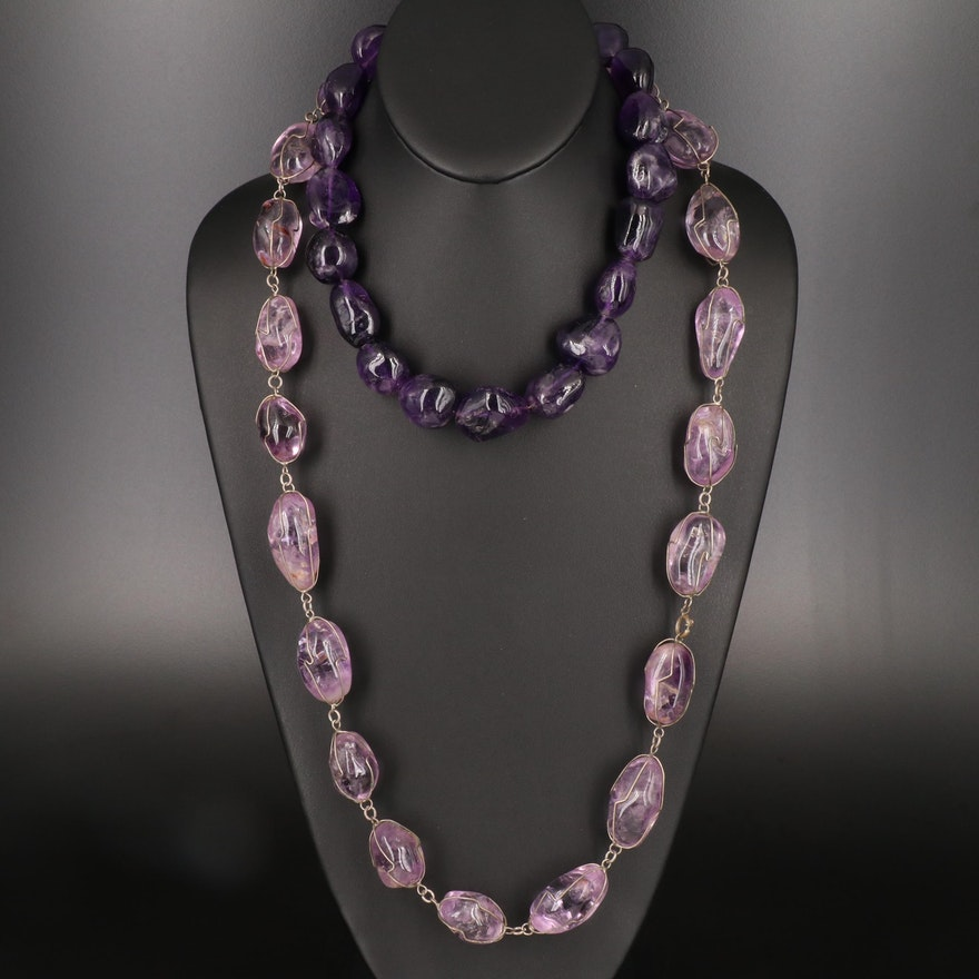 Beaded Amethyst Necklaces