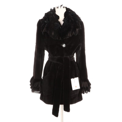 Sheared Mink Fur Coat with Mink Fur and Feather Trimmed Fringe, Merchant Tag
