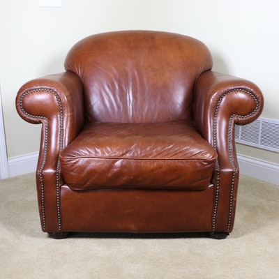 Robinson & Robinson Brass-Tacked Leather Armchair