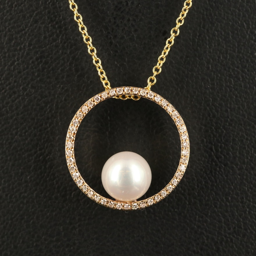 EFFY 14K Pearl and Diamond Necklace
