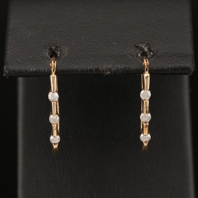 10K Diamond Elongated Hoop Earrings